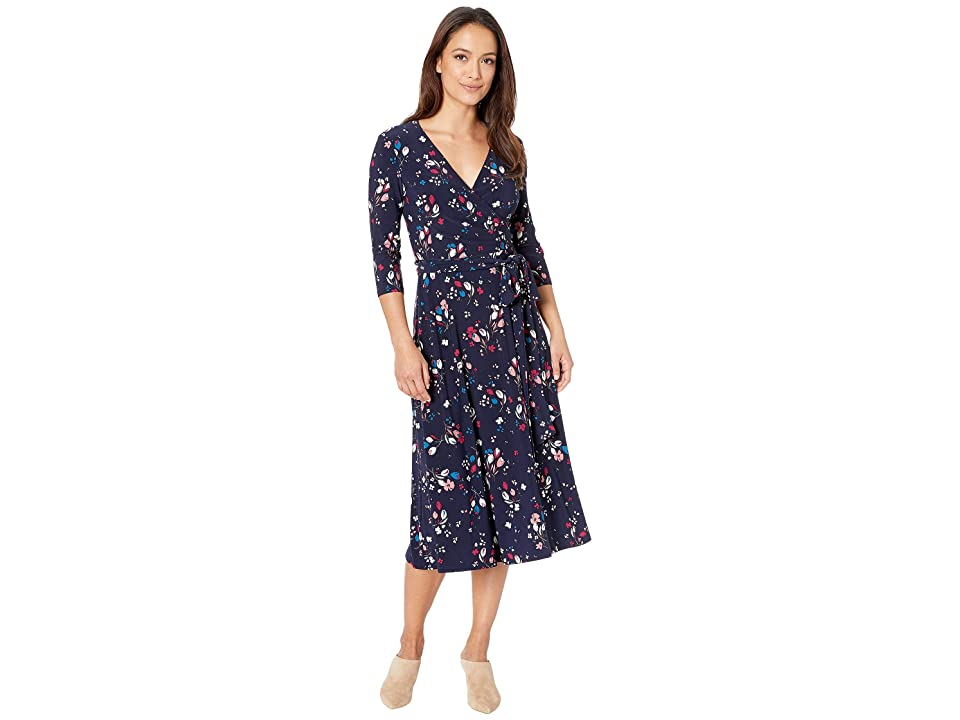LAUREN Ralph Lauren Petite Carlyn Mineola Floral Day Dress (Lighthouse Navy/Pink/Multi) Women