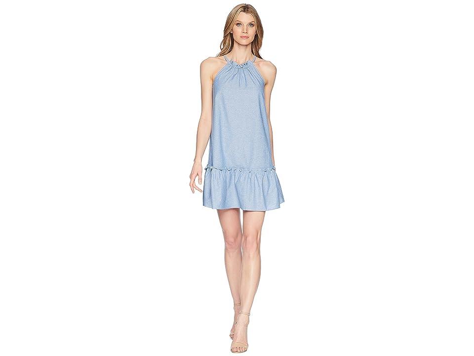London Times Ruffle Skirt w/ Shirred Neck Dress (Denim) Women
