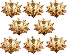 Collectible India Set of 8 Brass Diya Deepak Oil Lamp Small Lotus Kamal Shape for Home Temple Puja Articles Decor Gifts Giting (8 Pcs)