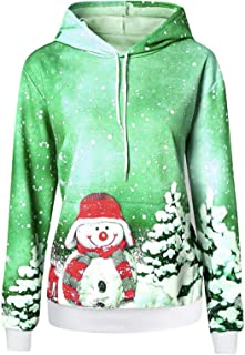 Fenebort Store-AU Womens Christmas Snowman Print Casual Sweatshirts Drawstring Hoodies with Pocket Long Sleeve Tunicss Shi...