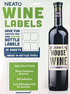 Neato Adhesive Wine Bottle Labels - 40 Pack of Blank Labels - Printable Labels for Wine Bottles - Inkjet and Laser Printer Compatible
