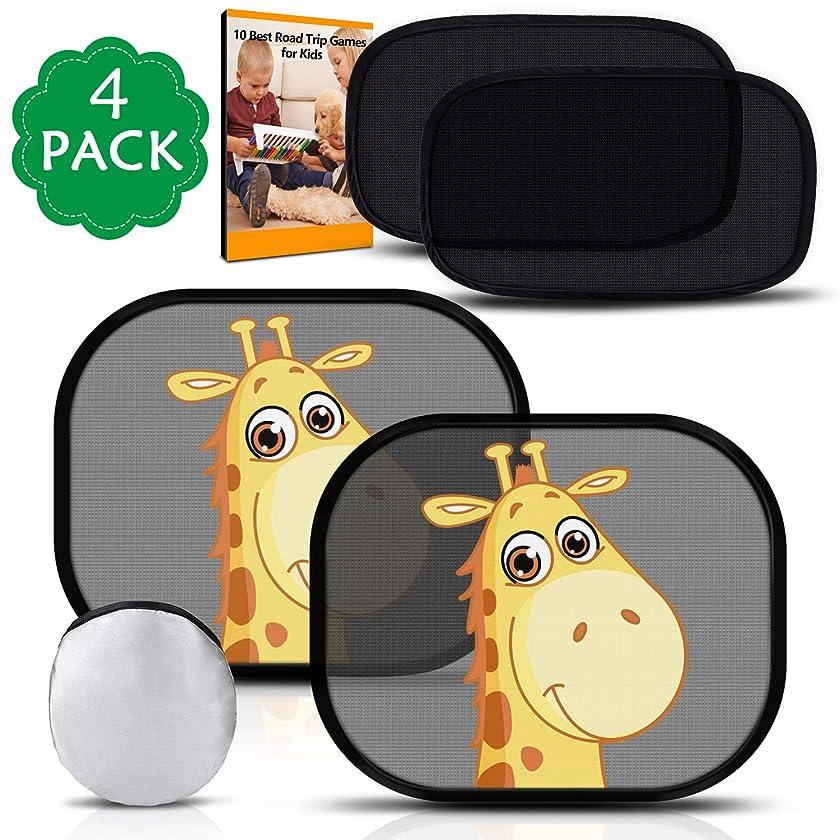 PEYOU Car Window Shades for Baby, [4 Pack]Car Side Rear Window Sun Shade- Protect Kids from Sun Glare and Sunburning-2 Semi-Transparent Sunshades & 2 Transparent Giraffe Cartoon Shades-Travel E-Book