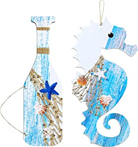2 Pieces Wooden Seahorse Wall Decor Wood Oar Sign Hanging Wooden Wall Art Signs Rustic Nautical Seahorse Oar Wall Signs with Starfish and Shells Hanging Plaques Beach Theme Decorations for Home Office