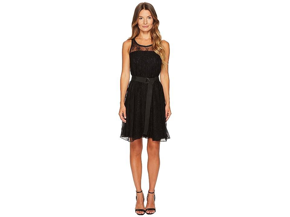 Sportmax Assiro Lace Printed Jersey Dress (Black) Women