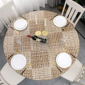 Round Vinyl Elastic Edged Flannel Backed Tablecloth Fitted Table Cover PVC Print Table Pad Home Decor (Pattern C, Round Tight Fits Table up 45