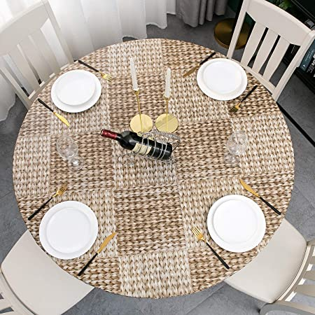 Leaf Clover, 56 Inch Round Tight Fit Deluxe Elastic Edged Flannel Backed Vinyl Fitted Table Cove