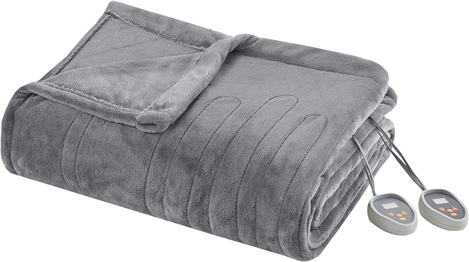 Beautyrest Elect Electric Blanket with 20 Heat Level Setting Controller, Twin, Grey
