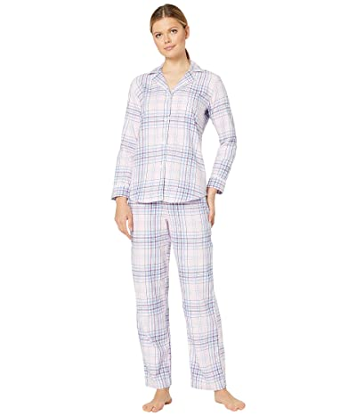 LAUREN Ralph Lauren Classic Wovens Long Sleeve Pointed Notch Collar Long Pants Pajama Set (Multi Plaid) Women