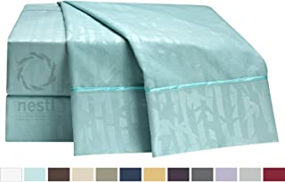 Nestl Heavyweight Premier 1800 Collection 100% Brushed Microfiber Bamboo Bed Sheet Set, Rich Embroidered Embossed Design, Breathable Hypoallergenic and Super Silky Soft Smooth Fabric.