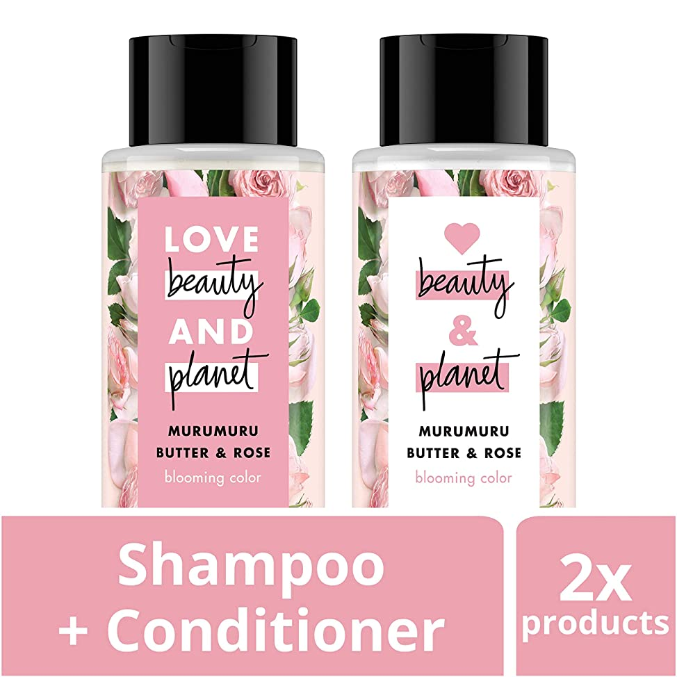 Love Beauty and Planet Blooming Color Shampoo and Conditioner, Murumuru Butter, Sugar & Rose, 13.5 oz, 2 count uwxjoamz576