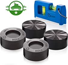 Anti Vibration Pads with Tank Tread Grip, 4 Pads + Level - Washer & Dryer Pedestals Fit All Machines - Noise Dampening, Protects Laundry Room Floor - Anti Vibrasion Pads for Washing Machine