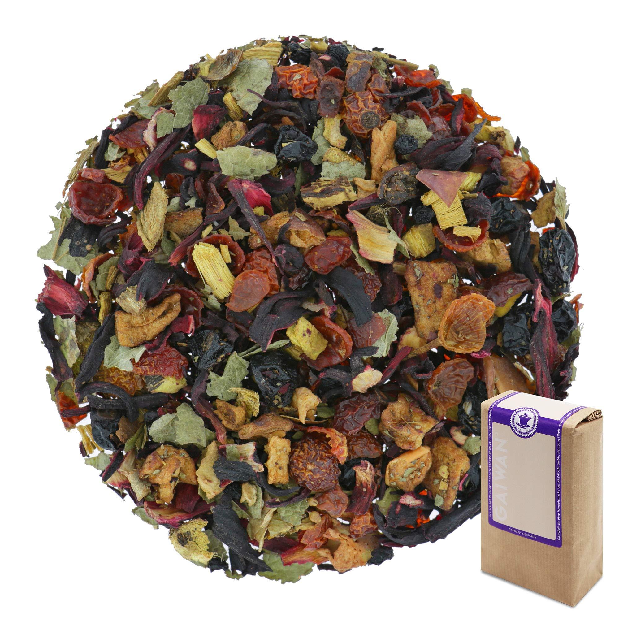 "Núm. 1235: Té de frutas orgánico ""Zarzaparrilla (grosellero negro)"" - hojas sueltas ecológico - 100 g - GAIWAN® GERMANY - hibisco, rosa mosqueta, regaliz, manzana, grosellas, saúco, grosella roja"
