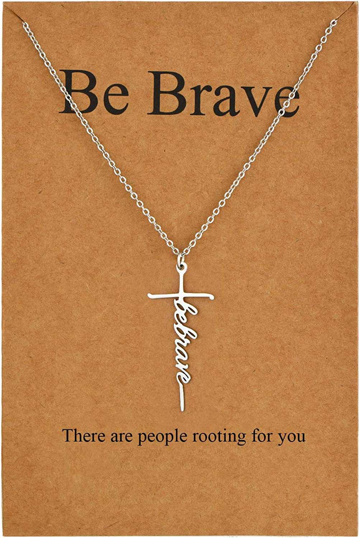 Lcherry Faith Cross Necklace Hope Believe Pendant Necklace Religious Jewelry for Women