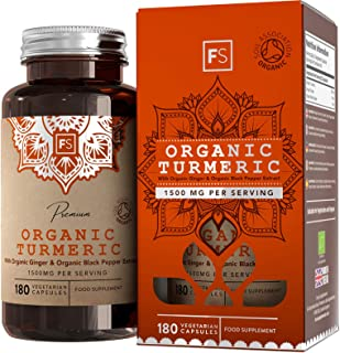 FS Curcuma Organica con Jengibre y Pimienta Negra 1500mg | 180 Turmeric Capsulas Veganas | Cúrcuma Pastillas para Antiinflamatorio Rodilla | Certificada Soil Association | Curcumine | Sin OGM