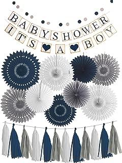 Blue White Grey Baby Boy Baby Shower Decorations/Grey Elephant Baby Shower, Blue Baby Shower Decorations for Boy - Its A Boy Party Decor (Dark Blue)