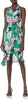 Parker womens Addie Halter Neck Wrap Front Midi Dress Dress