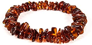AMBERAGE Natural Baltic Amber Bracelet for Adults (Women/Men) - Hand Made from Polished/Certified Baltic Amber Beads(4 Col...