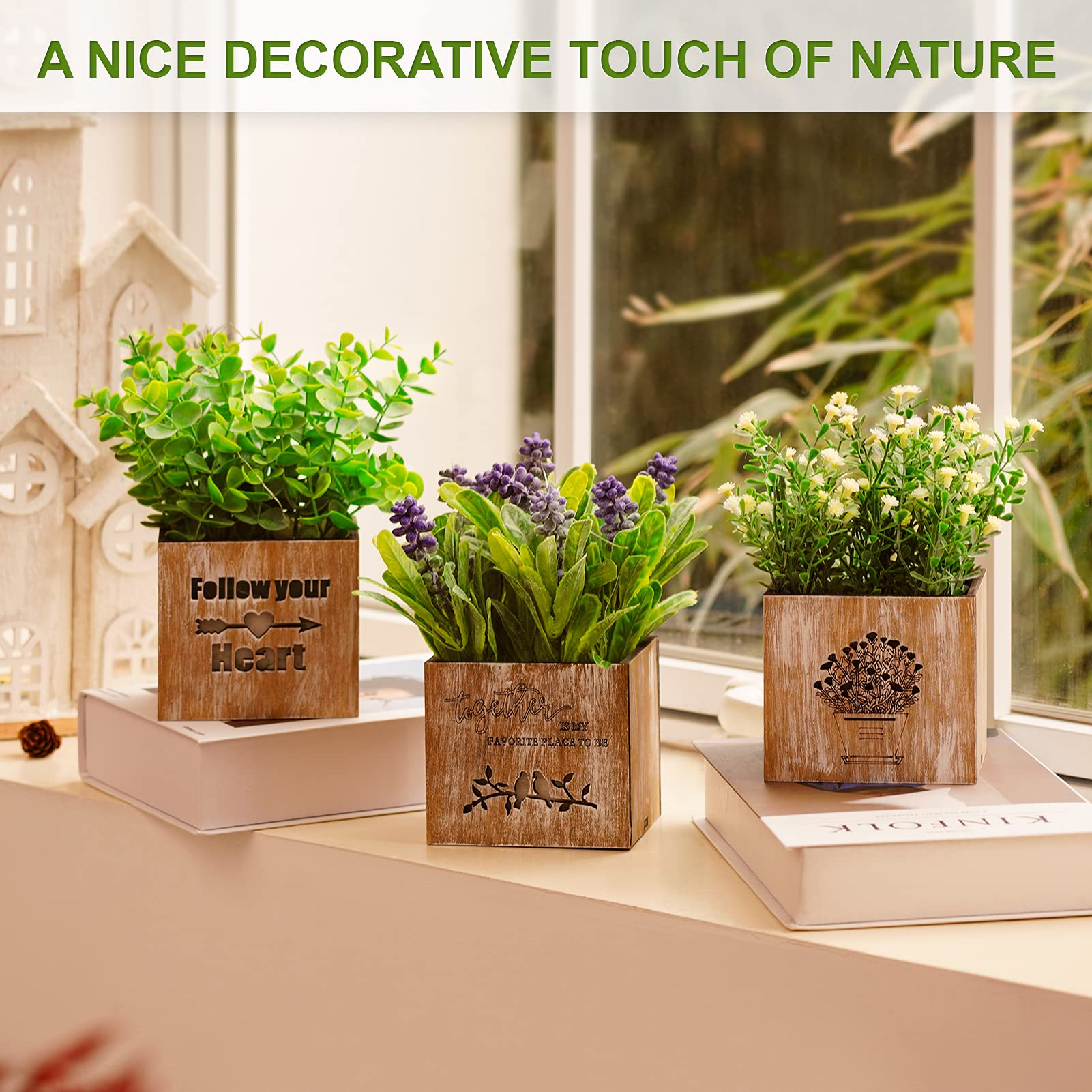 Kinkota Artificial Plants & Flowers with Lights in Wooden Box, Potted Fake Faux Plants Eucalyptus for Home Decor Indoor, Greenery Tabletop Centerpieces for Office Room Decoration - 3 Pack (Original)