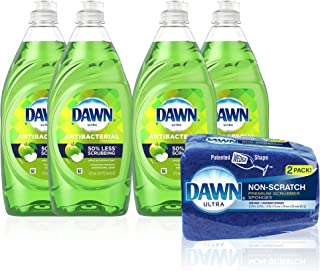 Dawn Dish Soap Antibacterial Dishwashing Liquid + Non-Scratch Sponges for Dishes, Apple Blossom Scent, Includes 4x19.4 oz...