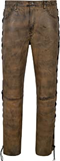 mens brown leather motorcycle pants