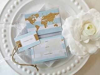 50 Glitter World Map Luggage Tags lt Blue 1.25 ea.