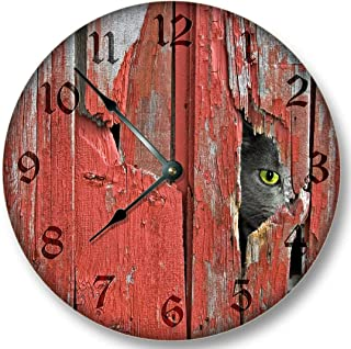Old Red Barn Boards with Barn Cat Pattern Wall Clock Rustic Cabin Country Wall Home Decor