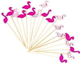 "PuTwo Cocktail Picks Handmade Bamboo Toothpicks 100ct 4.7"" in Flamingo Decor"