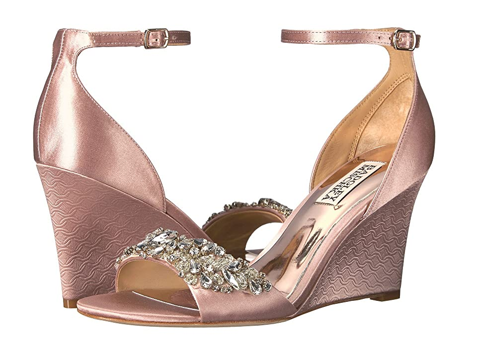 Badgley Mischka Tyra (Blush Satin) Women's Wedge Shoes, Pink
