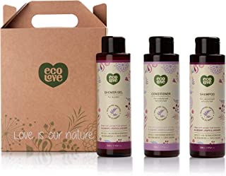 ecoLove Natural Shampoo, Conditioner and Body Wash Set (Pack of 3) with Organic Blueberry, Grape and Lavender Extract for ...