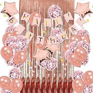 تزئینات جشن تولد رز طلایی KIT - بنر تولدت مبارک ، پرده های فلزی حاشیه ای با روکش فلزی برای جشن تولد ، بادکنک های کانفیگ رز گلد با پرچم های ستاره صورتی