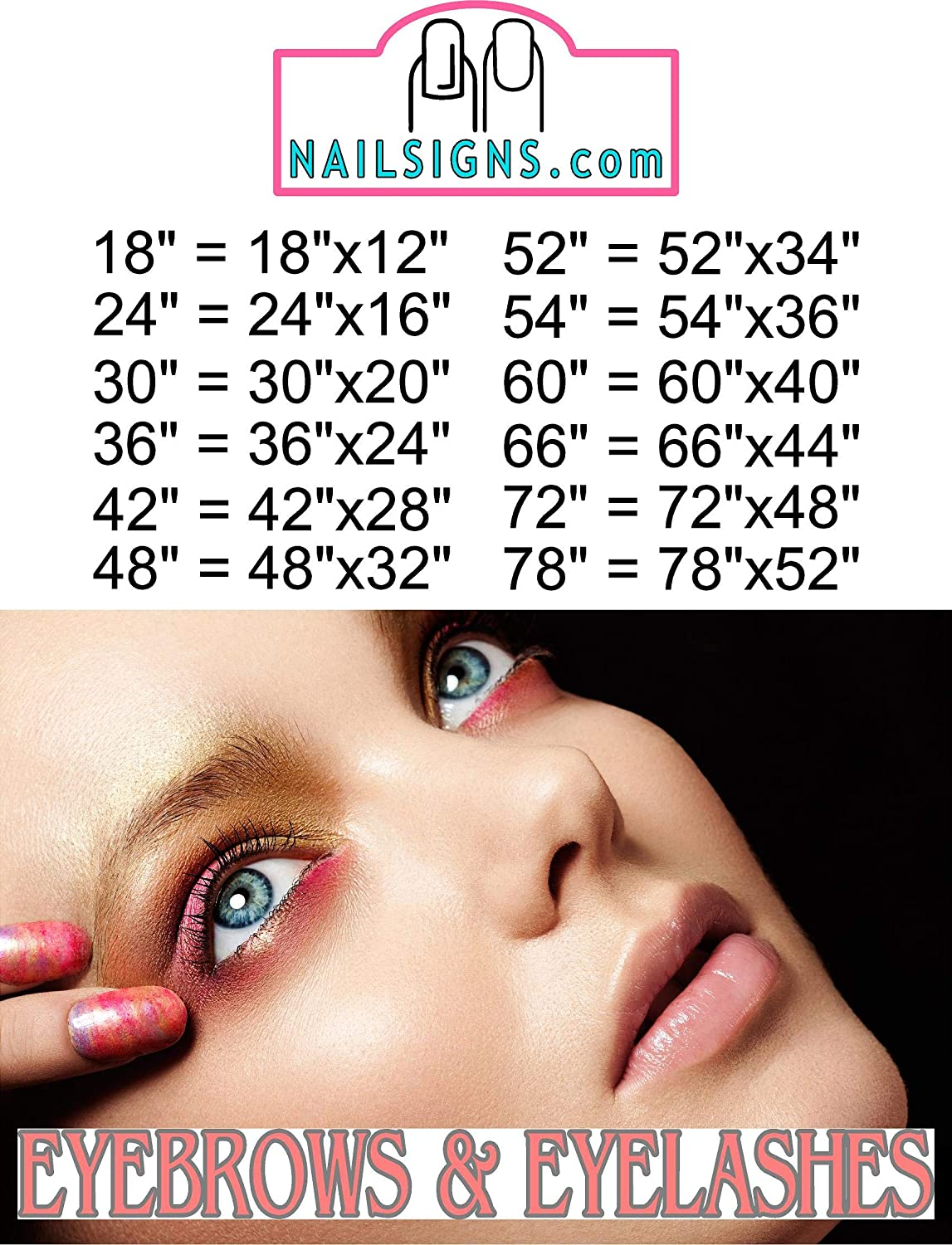 NAILSIGNS.com New arrival Eyebrows XIII Eyelashes Salon Services Sign Store Advert