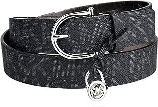 Michael Kors Signature Monogram Belt Black Silver Buckle888698522246