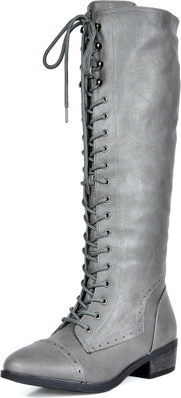 DREAM PAIRS Women's Vine Grey Faux Fur Knee High Riding Combat Boots Size 10 M US
