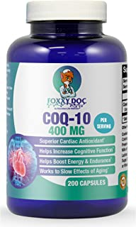 CoQ10 - Co-Enzyme Q10 - 400 mg per 2 Caps Serving - 200 Caps - Pure & High Absorption - Vegetable Caps - Non-GMO - 100 Day...
