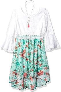 فستان Amy Byer بناتي بأكمام قصيرة على شكل فانوس وخصر وهمي