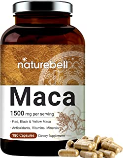 NatureBell Maca Capsules, 1500mg Per Serving, 180 Capsules, Support Energy and Immune System, Non-GMO and Made in USA