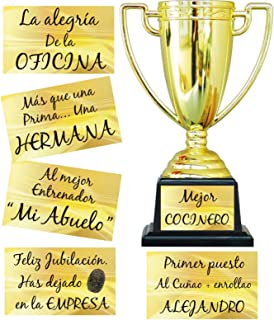 FIESTADEKOR Trofeo para Personalizar con Todo Tipo de Textos