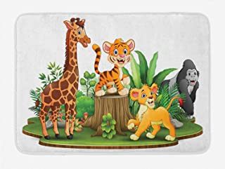"""fox-kyt Animal Bath Mat, Pattern of Colorful Digitally Generated Forest Scenery Green Land Plantation, Plush Bathroom Decor Mat with Non Slip Backing,16"""" W by 24"""" L Inches, Multicolor"""