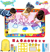 Shape Mart Water Drawing Mat - Large Water Magic Doodle Mat for Toddler, Mess Free Painting Mat for Kids with Water Pens and Bag, Educational Toys for Kids Age 2 3 4 5 6 7 8 Years Old
