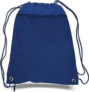 (12 Pack) Set of 12- Economical Drawstring Polyester Backpack with Front Pocket