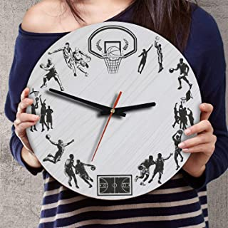 VTH Global 12 Inch Silent Battery Operated Basketball Wood Wall Clocks Basketball Gifts for Men Women Team Players Fans Coaches Lovers Husband Wife