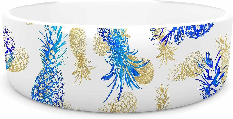 KESS InHouse Noonday Design Pineapple Party  bluee Illustration Pet Bowl, 7