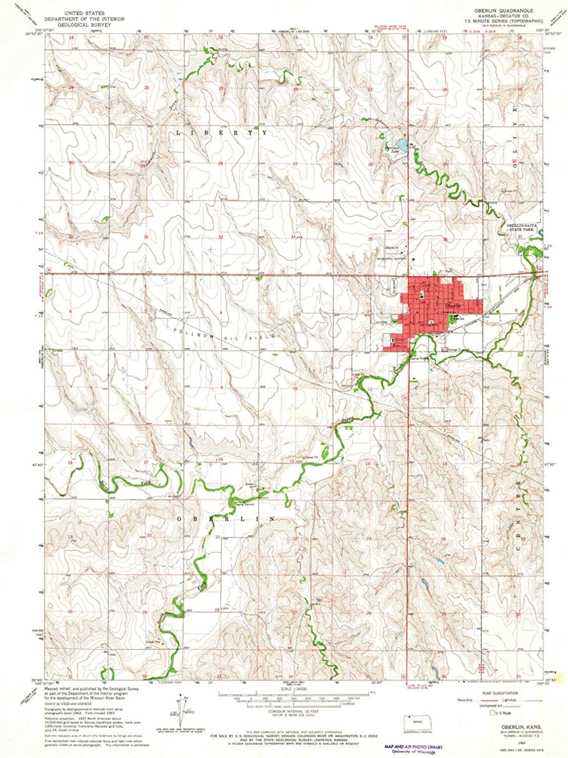 Oberlin KS topo map, 1 24000 Scale, 7.5 X 7.5 Minute, Historical, 1965, Updated 1966, 26.82 x 20.78 in