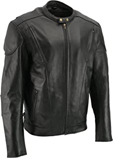 M-BOSS MOTORCYCLE APPAREL-MJ470T/1010T-BLACK-Tall men's cowhide leather motorcycle jacket.-BLACK-3XL-TALL