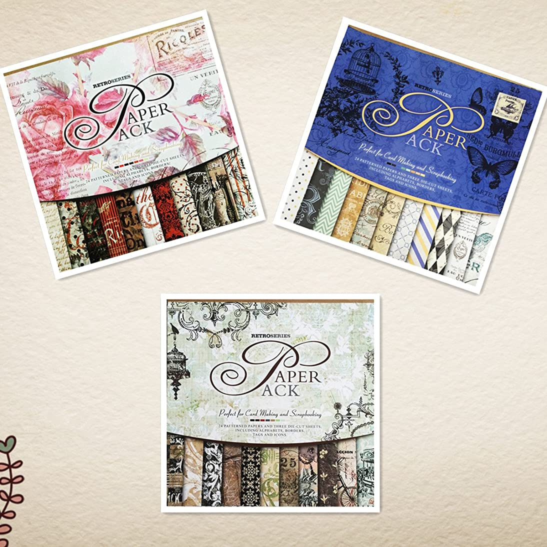S&B Scrapbook Paper Book Pad 12 x 12-inches Classic Decoupage Paper Supplies, 3-Pack(Blue, Rose and Gray/Black)