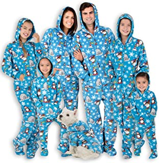 Footed Pajamas - Family Matching Polar Hoodie Onesies for Boys, Girls, Men, Women and Pets