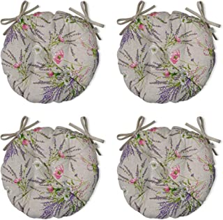 Juego de Cuatro Cojines Redondos para Silla colección Grosso con Tejido español Estampado de Flores de Lavanda/Diámetro: 40 cm / 80% algodón, 20% poliéster/Relleno de Fibra Hueca