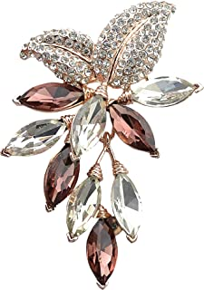 Gyn&Joy Womens Purple Colored Swarovski Crystal Rhinestones Grapes Fruit Brooch Pin in Gold Tone BZ072