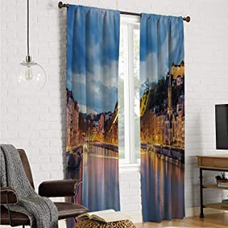 Mozenou Teenagers Bedroom Drapes Panels European,View of Saone River in Lyon City at Evening France Blue Hour Historic Buildings,Multicolor W120 x L84 Inch
