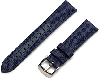 Benchmark Basics Quick Release Sailcloth Watch Straps - Woven Nylon Watch Bands for Regular & Smart Watches - Choice of Co...